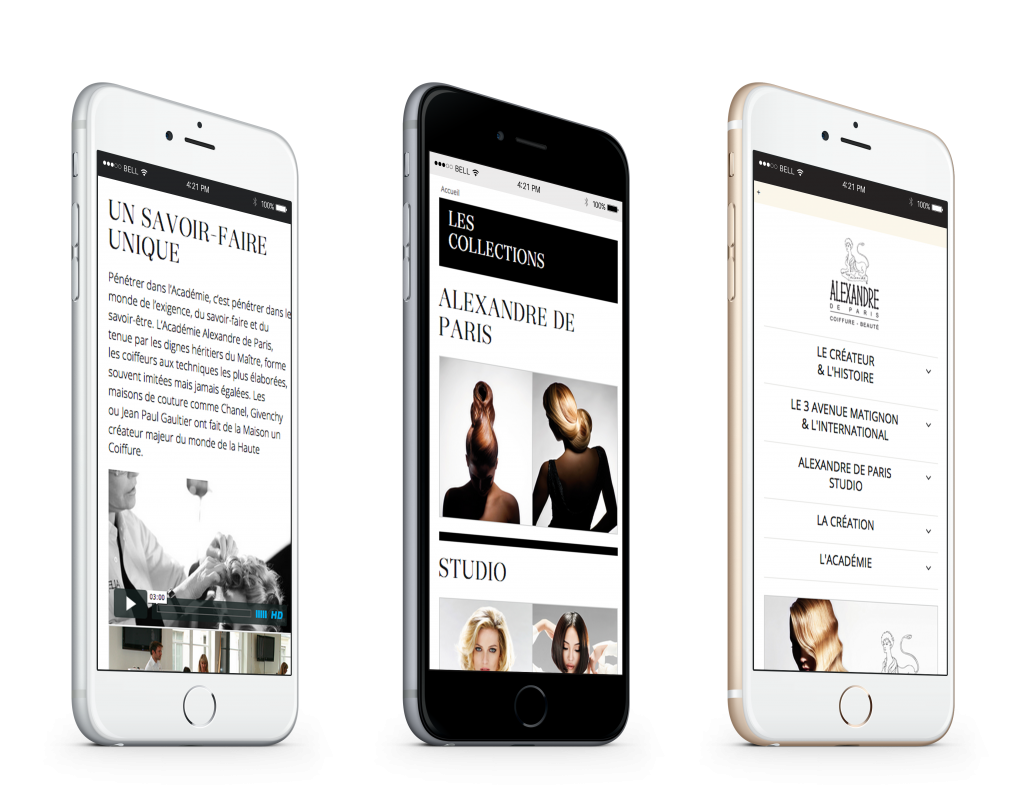 Version mobile du site alexandre de paris coiffure